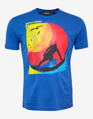 Dsquared2 Blue Tropical Print T-Shirt