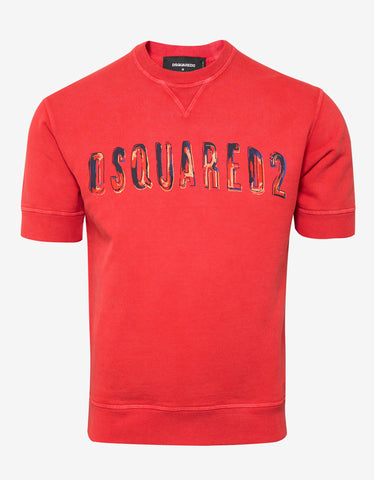 Dsquared2 Coral Logo Print Short Sleeve Sweatshirt