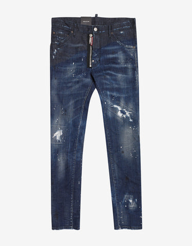 Dsquared2 Dark Blue Distressed Paint Splatter Cool Guy Jeans