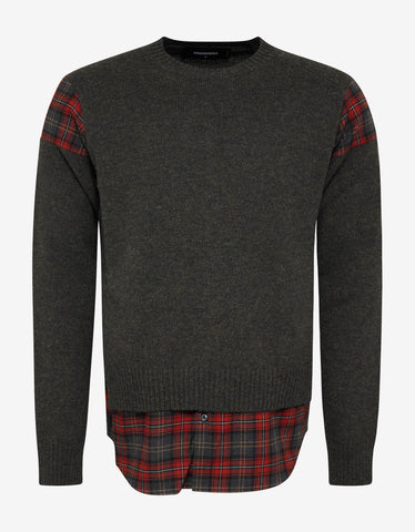 Dsquared2 Khaki Sweater with Plaid Inserts