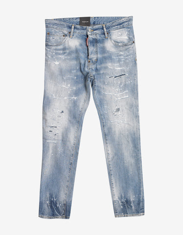 Dsquared2 Light Blue Distressed Cigarette Jeans