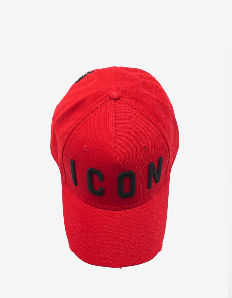 Red Baseball Cap with Black Icon Logo
