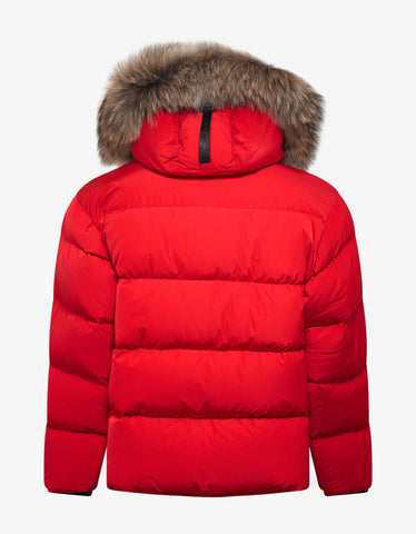 Dsquared2 Red Fur Trim Down Jacket