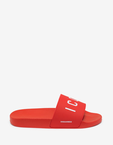Dsquared2 Red Icon Logo Slide Sandals
