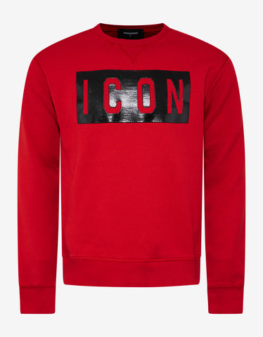 Dsquared2 Red Icon Print Sweatshirt