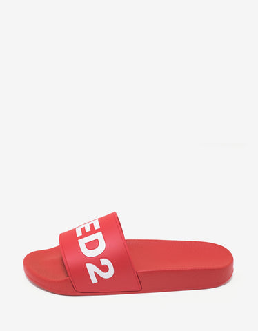Dsquared2 Red Logo Slide Sandals
