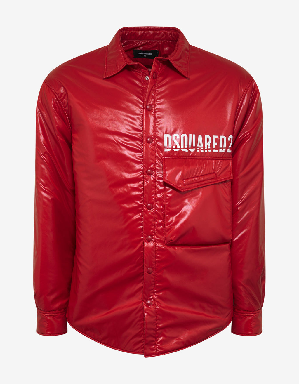 Red Nylon Logo Print Jacket
