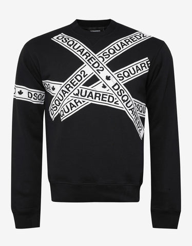 Dsquared2 Black Logo Tape Print Sweatshirt