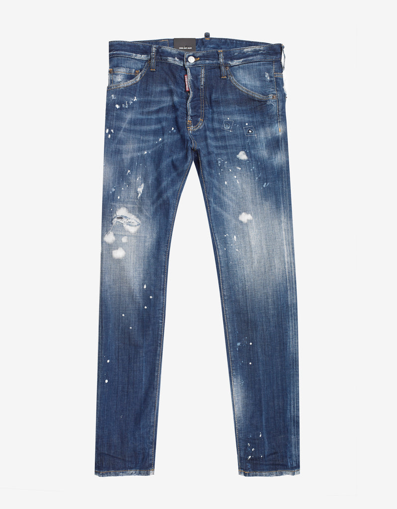Blue Paint Splatter Distressed Cool Guy Jeans