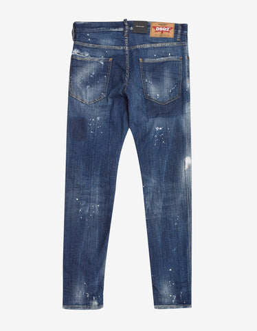 Dsquared2 Blue Paint Splatter Distressed Cool Guy Jeans