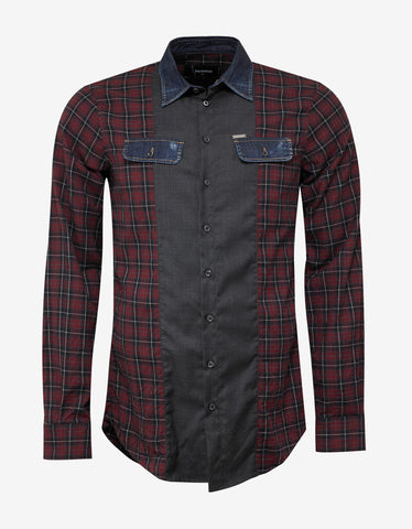 Dsquared2 Red Check Shirt with Denim Trim