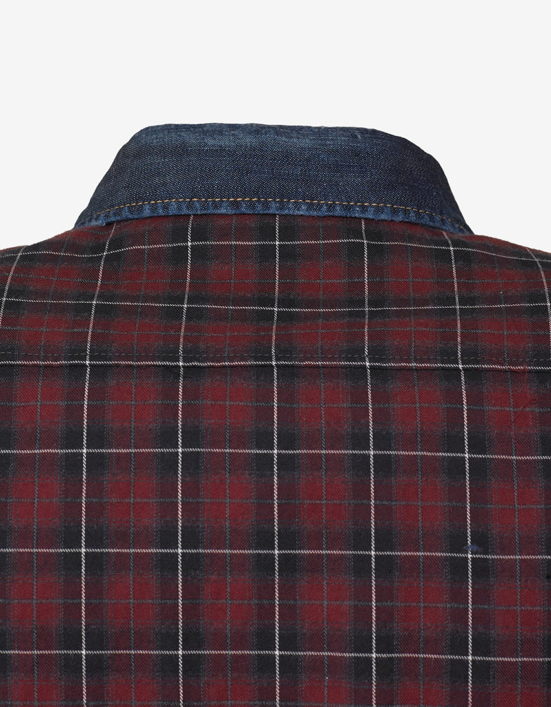 Red Check Shirt with Denim Trim