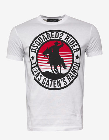 Dsquared2 White Dsquared2 Rider Print T-Shirt