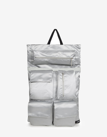 Eastpak x Raf Simons RS Poster Silver Satin Punk Couple Backpack