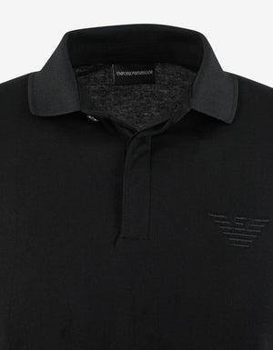 Black Tonal Eagle Logo Polo T-Shirt