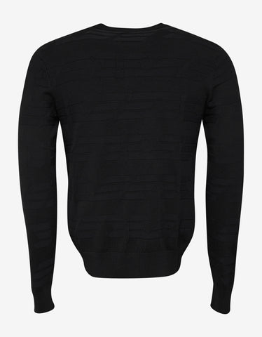 Emporio Armani Black All-Over Eagle Logo Sweater