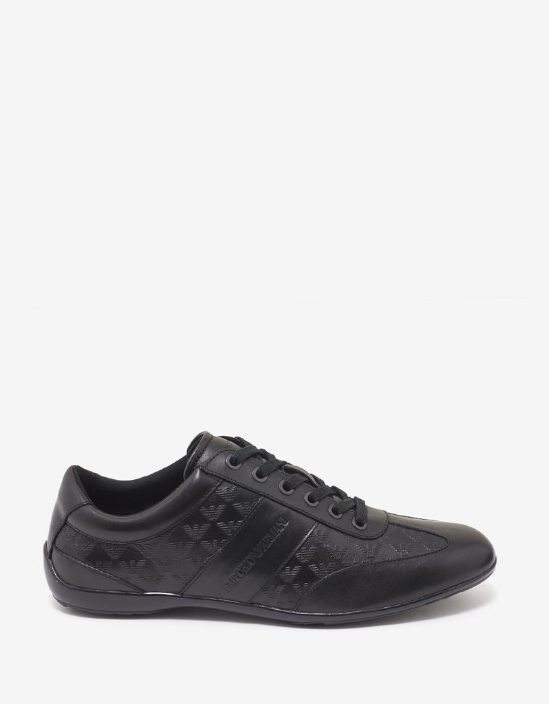 Black All-Over Logo Leather Trainers