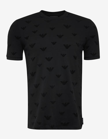 Emporio Armani Black All-Over Logo Pique T-Shirt