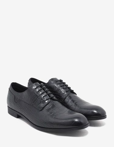 Emporio Armani Black Croc Embossed Leather Derby Shoes