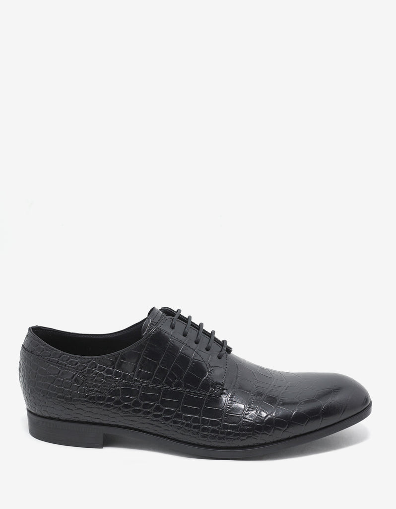 Black Croc Embossed Leather Derby Shoes