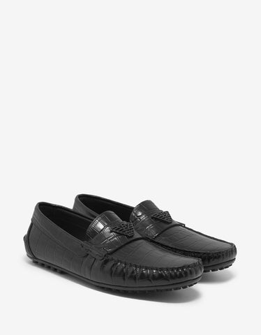 Emporio Armani Black Croc Embossed Leather Driving Shoes