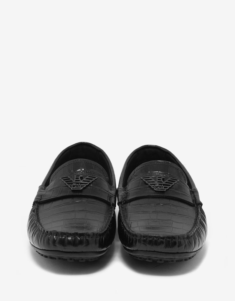 Black Croc Embossed Leather Driving Shoes