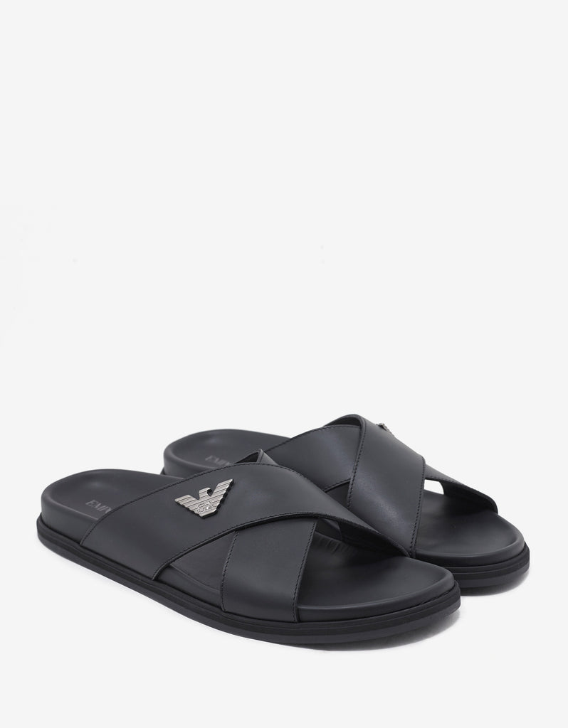 Black Cross Strap Leather Sandals