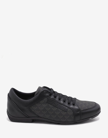 Emporio Armani Black Logo Motif Leather Trainers