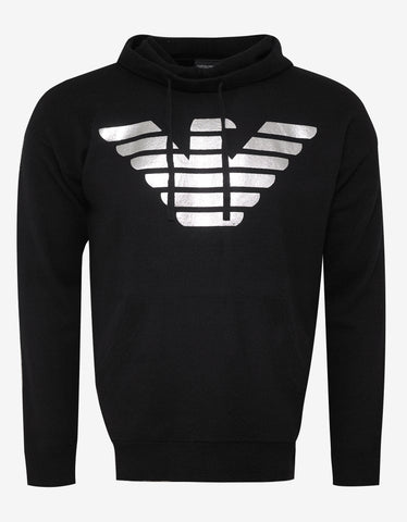 Emporio Armani Black Eagle Logo Hooded Knitwear