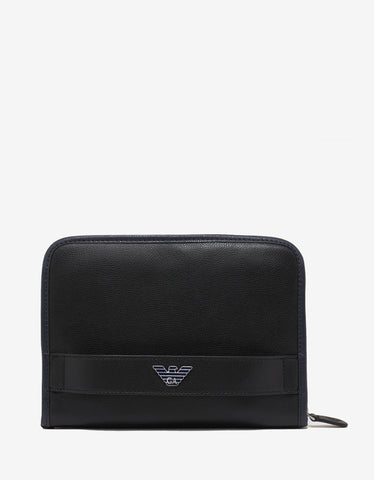 Emporio Armani Black Eagle Logo Leather Organiser