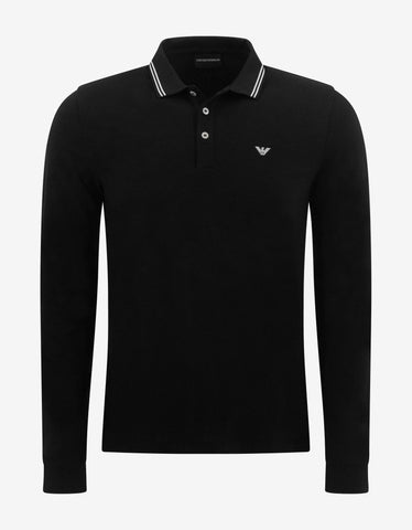 Black Polo T-Shirt with Grosgrain Collar