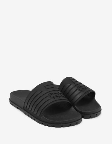 Emporio Armani Black Eagle Logo Slide Sandals