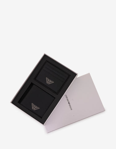 Emporio Armani Black Eagle Logo Wallet & Card Holder Gift Set