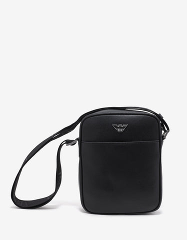 Emporio Armani Black Grain Leather Cross Body Bag