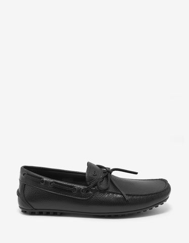 Emporio Armani Black Grain Leather Driving Shoes