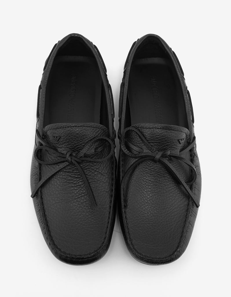 Black Grain Leather Driving Shoes
