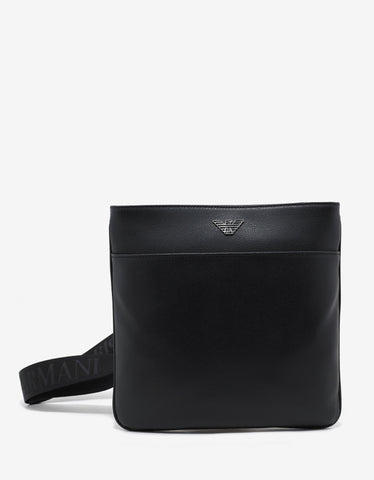 Emporio Armani Black Grain Leather Flat Messenger Bag