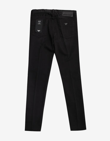 Emporio Armani Black Jeans with Eagle Logo
