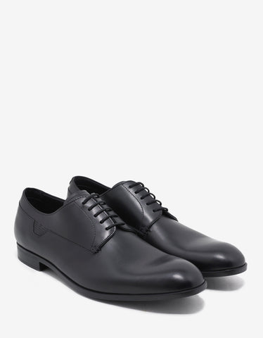 Emporio Armani Black Leather Derby Shoes with Logo