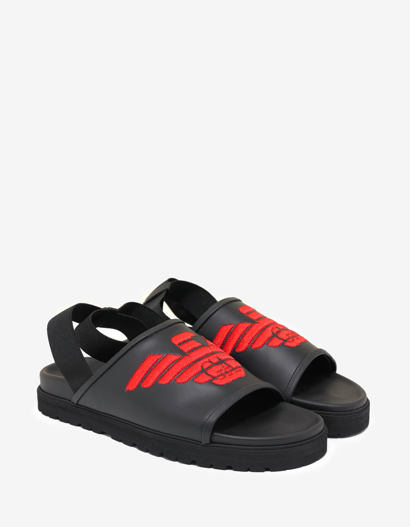 Emporio Armani SANDAL - Sandals - black red S84WM
