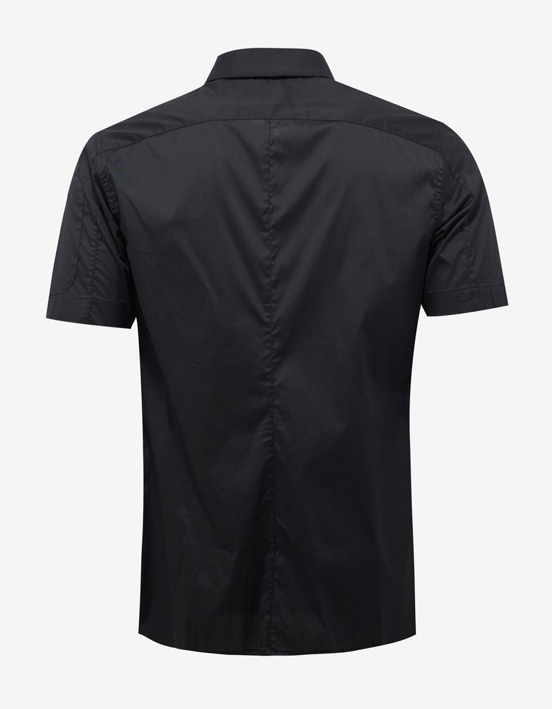 Black Logo Embroidery Short Sleeve Shirt
