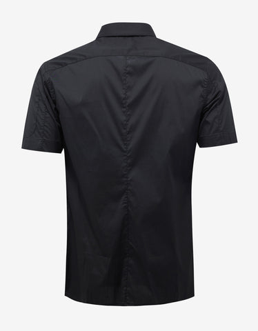 Emporio Armani Black Logo Embroidery Short Sleeve Shirt