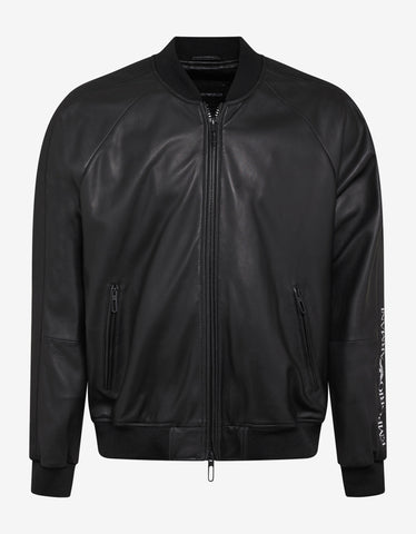 Emporio Armani Black Logo Tape Leather Bomber Jacket