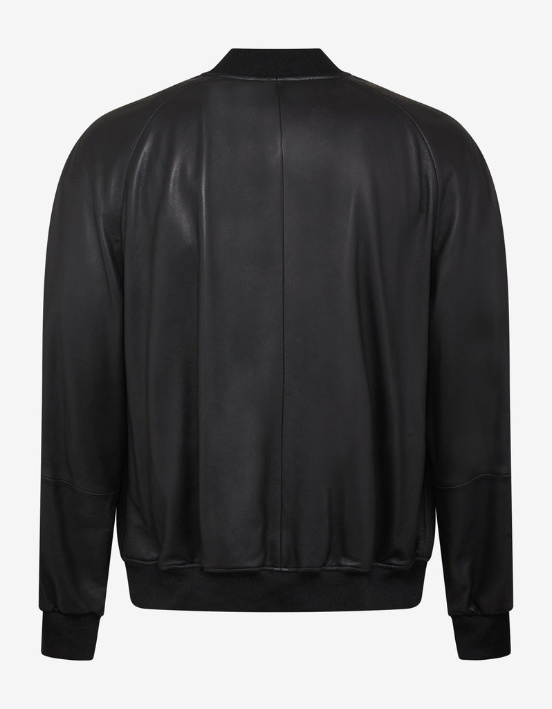 Black Logo Tape Leather Bomber Jacket