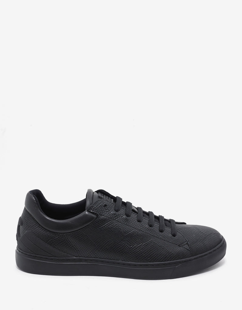 Black Reptile Embossed Leather Trainers