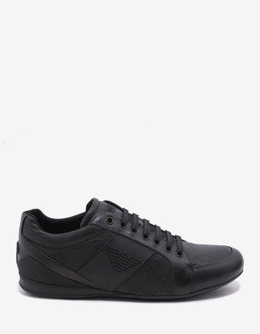 Emporio Armani Black Reptile Embossed Trainers with Logo