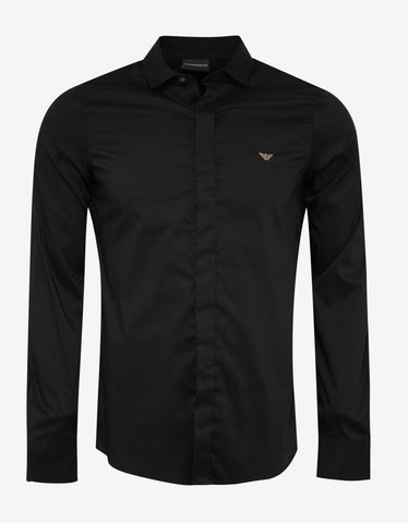 Emporio Armani Black Shirt with Gold Eagle Logo