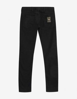 Black Slim Fit Logo Patch Jeans
