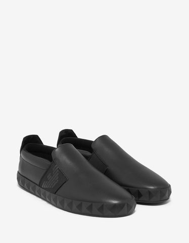 Emporio Armani Black Pyramid Stud Slip-on Trainers