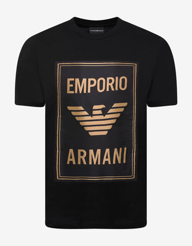 Emporio Armani Black T-Shirt with Gold Logo Print